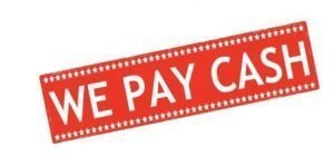Red & white we pay cash sign